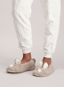 Faux Fur Bunny Ballerina Slippers