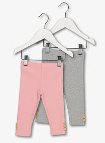 Pink & Grey Ribbed Leggings (0-24 Months)