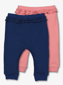 Navy & Pink Jersey Joggers 2 Pack (0-24 months)