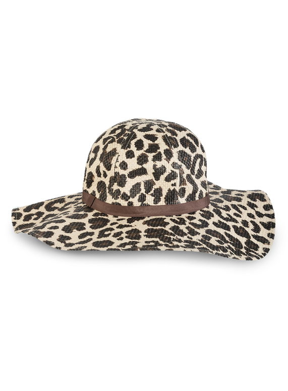 22ef1f3fc SKU: LEOPARD PRINT STRAW FLOPPY HAT:Natural