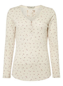 Oatmeal Floral Pointelle Top