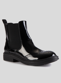 Online Exclusive Patent Brogue Chelsea Boots