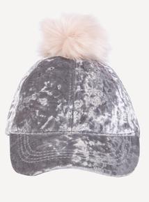 Grey Velvet Pom Pom Cap