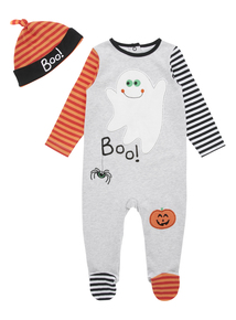 Grey Halloween Sleepsuit And Hat (0-24 months)