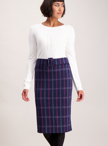 Navy Check Belted Pencil Skirt