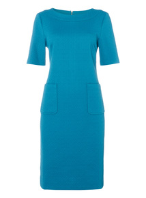 Teal Textured Smart Dress