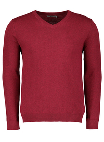 Red Marl V-Neck Jumper