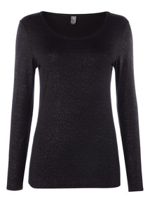 Black Heat Active Long Sleeve Glitter Top