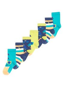 Boys Dinosaur Socks 7 Pack
