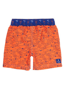 Boys Orange Sea Life Swim Shorts with Integrated Nappy (Newborn - 3 years)