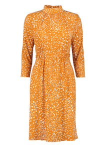 Online Exclusive Mustard Animal Print Jersey Fit & Flare Long-Sleeved Dress