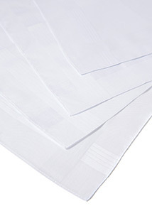 4 Pack White Handkerchiefs