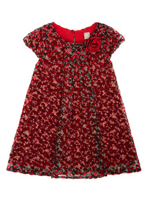 Girls Red Devore Party Dress (9 months-5 years)