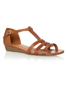 Tan Leather Low Wedge Sandals