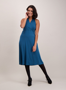 Online Exclusive Teal Halterneck Midi Dress
