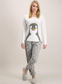 Grey Christmas Penguin Character Pyjamas