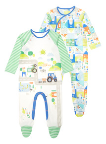 Multicoloured Fun At The Farm Sleepsuits 2 Pack (0-24 months)