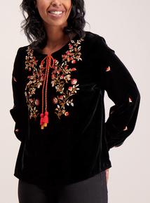 Black Embroidered Velvet Top