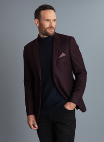 Burgundy Wool Blend Slim Fit Blazer