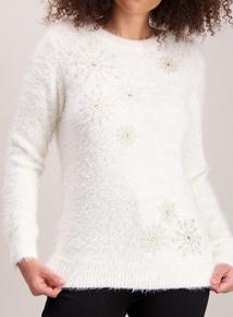 Christmas Cream Snowflake Eyelash Knit Jumper