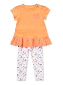 Multicoloured Jersey Broderie Hem Set (0-24 months)