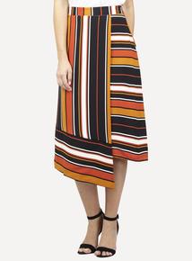 IZABEL Multi Orange Striped Wrap Midi Skirt