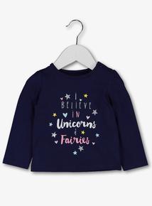 Blue Unicorn & Fairy Slogan Top (0-24 Months)