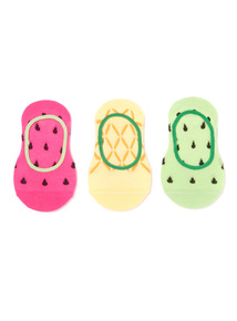 3 Pack Multicoloured Fruity Footsies (3 infant-5.5 adult)