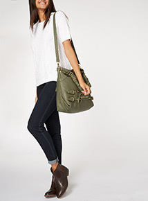 Khaki Washed Military Bag