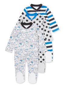 3 Pack Blue Vehicle Sleepsuits (Newborn-24 months)