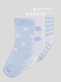 Blue Pattern Socks 3 Pack (1 - 24 Months)