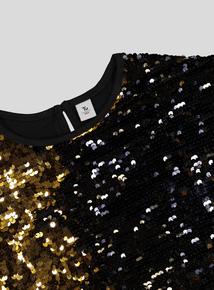 Gold & Black Sequin Top (3-14 Years)