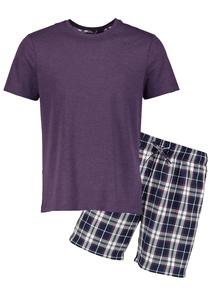 Purple T-Shirt With Check Short Pyjamas