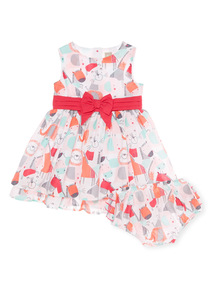 Multicoloured Safari Woven Dress With Knickers (0 - 24 months)