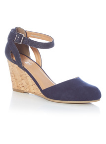 Navy 2 Part Cork Wedge Shoes