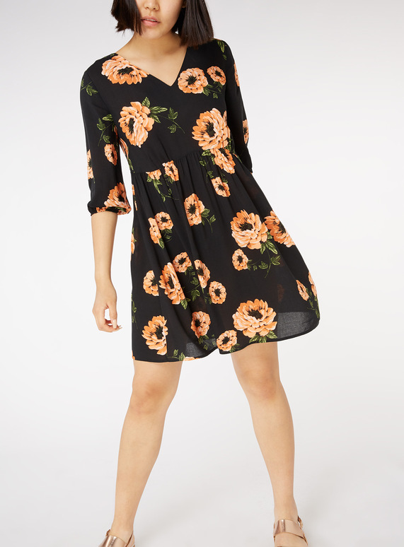 Online Exclusive Multicoloured Floral Print Smock Dress