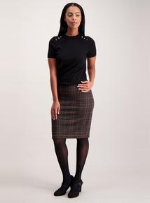 Grey Lurex Check Skirt