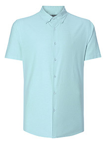Turquoise Slim Fit Oxford Shirt With Stretch