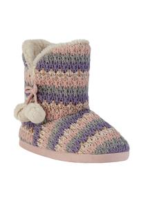 Pastel Stripe Knitted Slipper Boot
