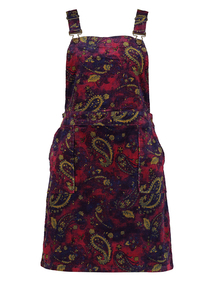 Online Exclusive Multicoloured Paisley Corduroy Pinafore Dress