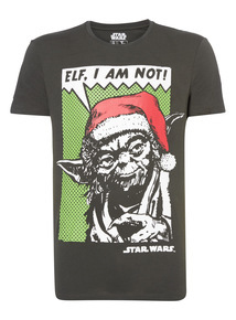 Black Disney Star Wars Yoda Christmas Tee