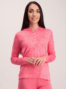 Pink Brushed Pyjama Hoodie