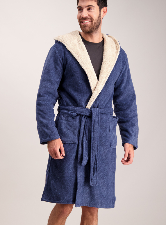Mens Navy Borg Lined Hooded Dressing Gown | Tu clothing