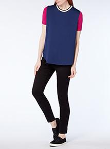 Navy Plain Colour Block T-shirt
