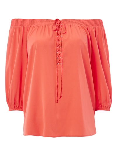 Coral Lace Up Bardot Top