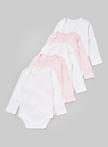 5 Pack Pink Long Sleeve Bodysuit (Tiny Baby-36 months)