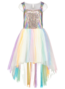 Multi-coloured Adult Unicorn Dress & Wig Halloween Outfit (8 - 22)
