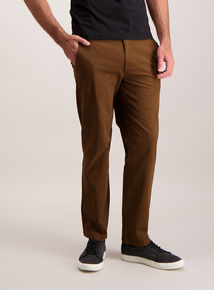Straight Leg Brown Chinos With Stretch