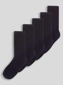 Boys Navy Ribbed Socks 5 Pack