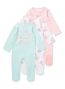 3 Pack Multicoloured Floral Sleepsuits (0-24 months)